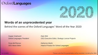 Words of an unprecedented year: Behind the scenes of the Oxford Languages' Word of the Year 2020