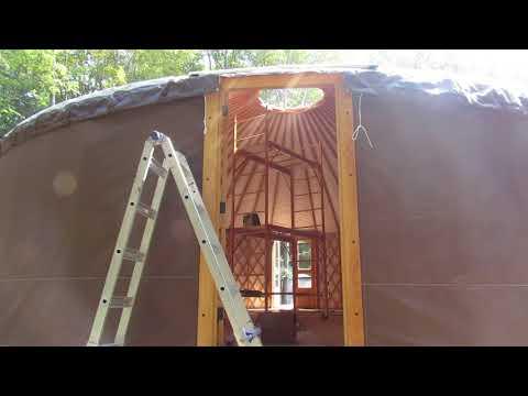 Outside walk around of newly put up 30 foot pacific yurt.