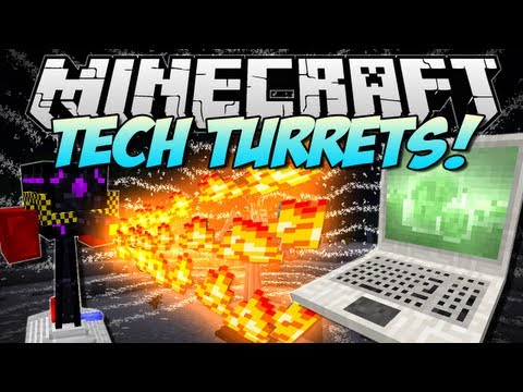 Minecraft | TECH TURRETS! (Robots that protect your base!) | Mod Showcase [1.5.2]