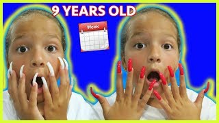 """9 YEARS OLD WORE SUPER  LONG ACRYLIC NAILS FOR WEEK/ INSTAGRAM CONTROL HER DECISIONS """"EMILY"""""""