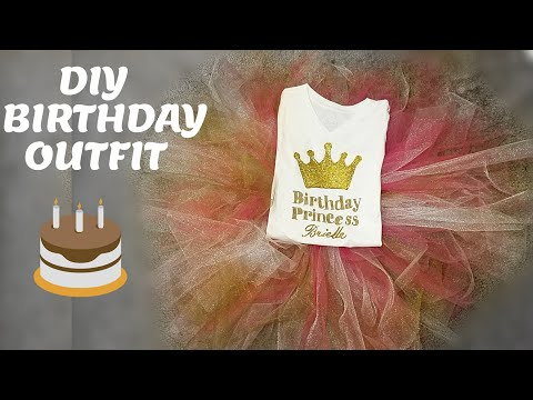 DIY Girl Birthday Outfit / DIY no Sew Tutu / DIY Tshirt design no Cricut