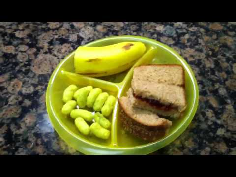 Toddler Meal Idea: Peanut Butter & Jelly Sandwich with a Banana and Kale/Broccoli Puffs