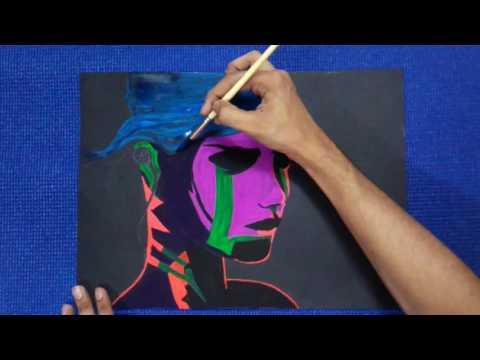 fluorescent colour painting