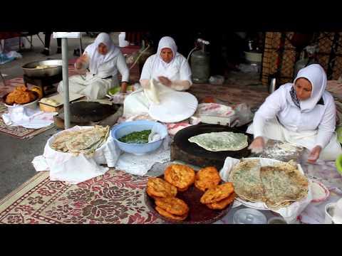 Kurdish Naan Street Food - Fried Saffron Bread & Spring Onion Flat Bread -