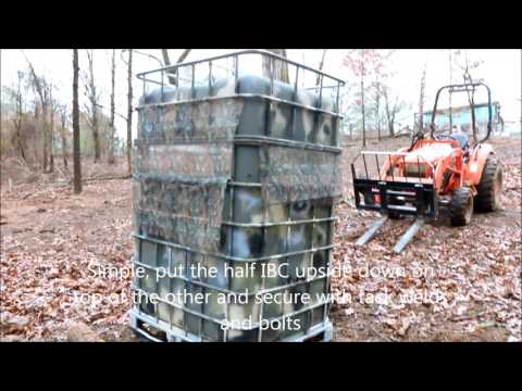 hunting blind made from IBC containers
