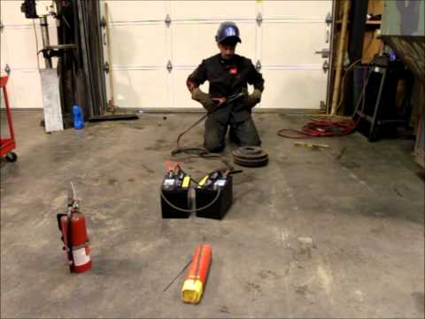 Welding with jumper cables and a pair of batteries