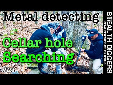 Cellar hole searching #233 metal detecting colonial cellar holes NH sifting for relics old homesites