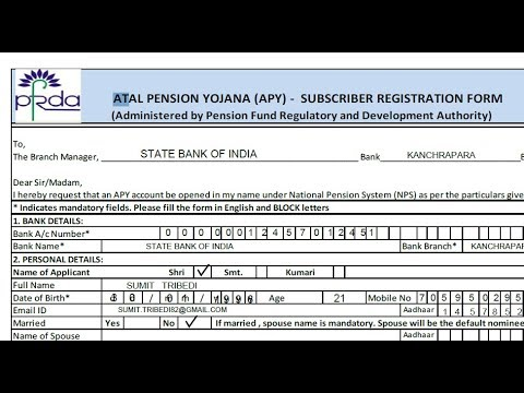 How to fill Atal Pension Yojana (APY) - Subscriber Registration Form ? || Hindi