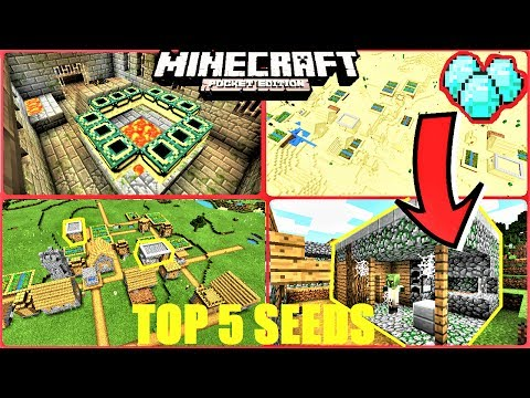 Top 5 INSANE Seeds For Minecraft PE ! END PORTALS, MESA VILLAGE, DIAMONDS & MORE ! | MCPE 1.1