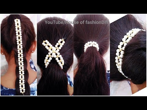 How To Make Party ware Hair Accessories At Home||Hair Styles..!