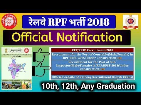 Railway RPF Official Notification CEN 03/2018. Railway RPF Recruitment 2018 AGE, QUALIFICATION etc