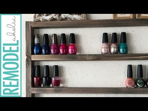 Easy DIY Rustic Wooden Display Shelf for Nail Polish and Essential Oils