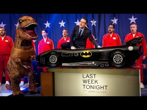 John Oliver celebrates the Delta Children Batmobile Twin Bed on Last Week Tonight