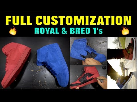 FULL CUSTOMIZATION SUEDE ROYAL & BRED 1's!!