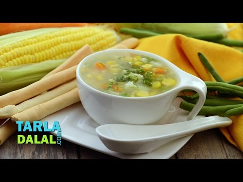 Sweet Corn and Vegetable Soup by Tarla Dalal