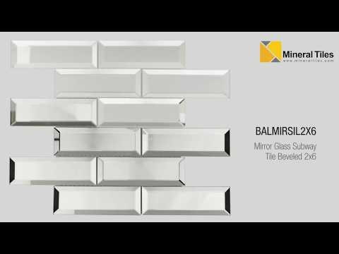 Mirror Glass Subway Tile Beveled 2x6 - BALMIRSIL2X6