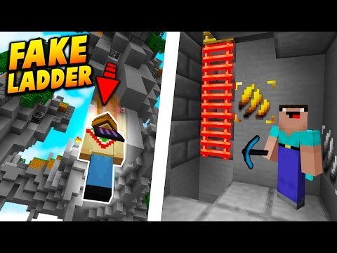 FAKE LADDER VOID FALL TROLL! - Minecraft SKYWARS TROLLING! (BEST TRAP!)