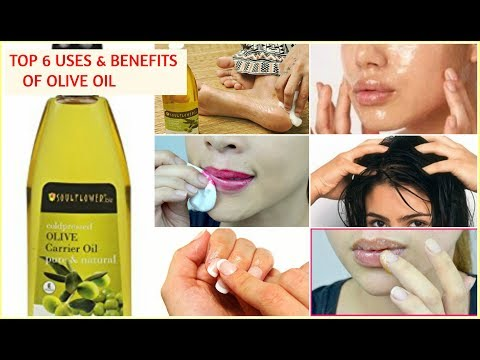 TOP 6 USES OF OLIVE OIL & BENEFITS for glowing skin , healthy hair , face , nails , lips