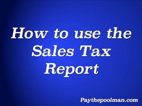 How to use the Sales Tax Report on Paythepoolman