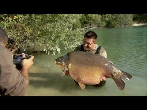 Carp fishing in France at Gigantica; Danny Fairbrass lands the 72lb monster carp - the Giant