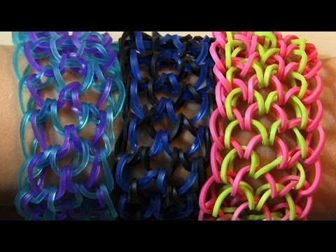 RAINBOW LOOM DRAGON SCALE CUFF 6 PEGS - SLOW VERSION