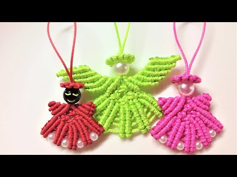 Macrame Christmas pattern tutorial: The hanging angel key chain