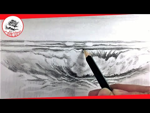 How to Draw Sea Waves with Pencil Drawing Techniques