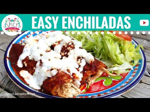Easy CHICKEN ENCHILADAS recipe NO OVEN   Mexican Food - Spicy Latina Mom