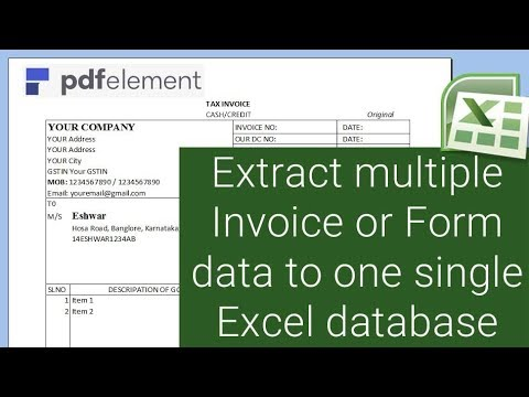 How to extract multiple Invoice or Form data to one single Excel database - PDF Element 6 Pro