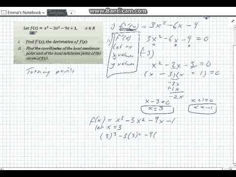 Cubic Functions Max & Min Points