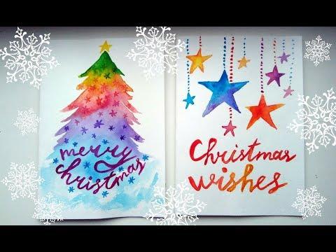 DIY Easy Christmas Cards Ideas - Watercolour Tutorials