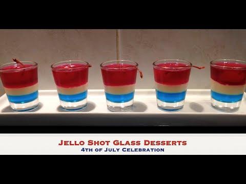 4th of July Jello Shot Glass Dessert tutorial cheekyricho