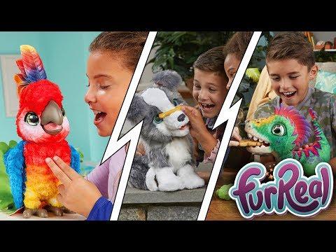 New FurReal Munchin' Rex Dinosaur, Ricky Trick-Lovin' Pup, Rock-a-too Show Bird (New York Toy Fair)