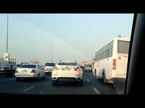 Dubai traffic. Arabic radio station style