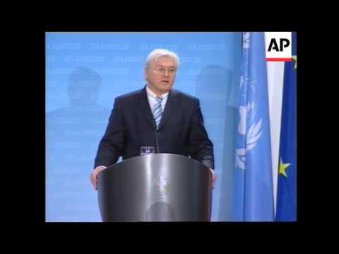WRAP German FM-UN Sec Gen, Russia, France call for unity; ADDS Rice, Olmert