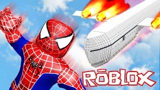 SPIDERMAN SAVES CRASHING PLANE IN ROBLOX!!