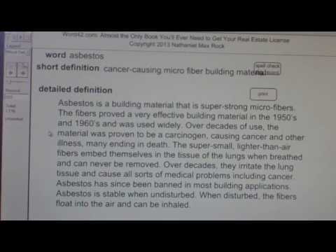 asbestos CA Real Estate License Exam Top Pass Words VocabUBee.com