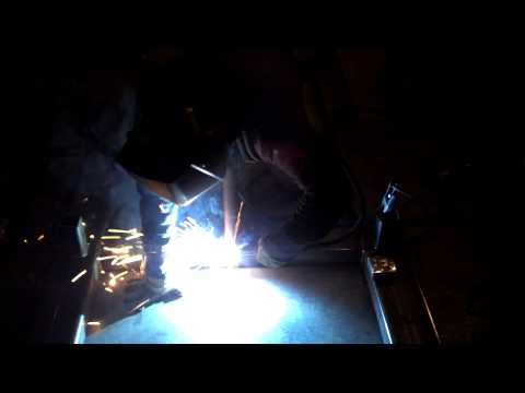 Mig welding on a football sled