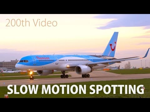 Slow Motion Plane Spotting - 200th Video - Manchester and Gatwick Airport