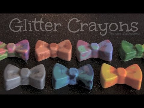 DIY GLITTER CRAYONS with Microwave or Oven - Back To School How To | SoCraftastic
