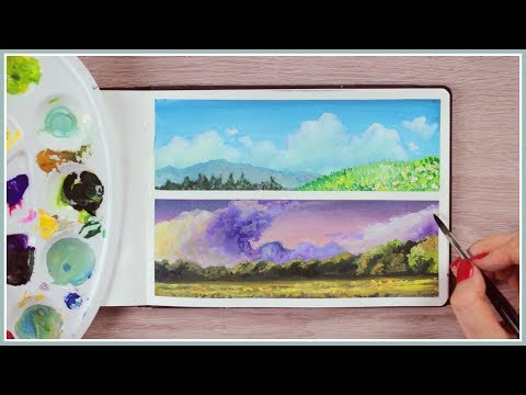 How to Paint Simple Landscapes with Gouache | Art Journal Thursday Ep. 43