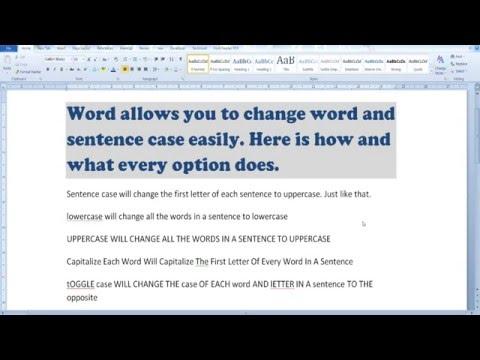 Change word & sentense case in word 2010