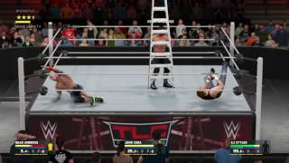 WWE 2K17 AJ Styles VS Dean Ambrose VS John Cena Triple Threat TLC Match WWE World Heavyweight Title