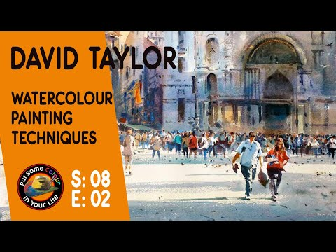 David Taylor Paints wonderful water colour town scene