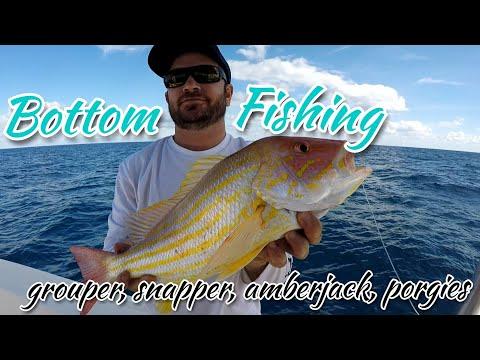Cranking on some Reef Fish - Grouper, Snapper, Porgie, Amberjack - Bottom Fishing