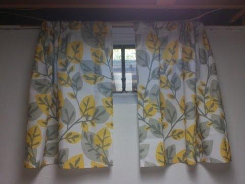 Sewing little basement curtains