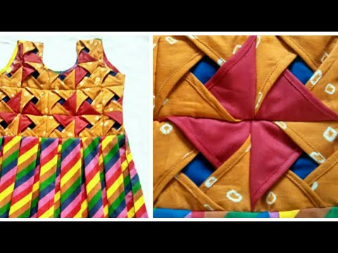 Origami /flower Dress /box pleated frock Making/