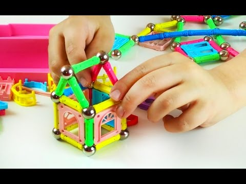 Build a Castle, Robot, Cars, ABC letters with amazing Magnetic pieces toy. Let's Play Kids