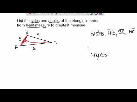 List sides and angles in order from least measure to greatest measure-EASY