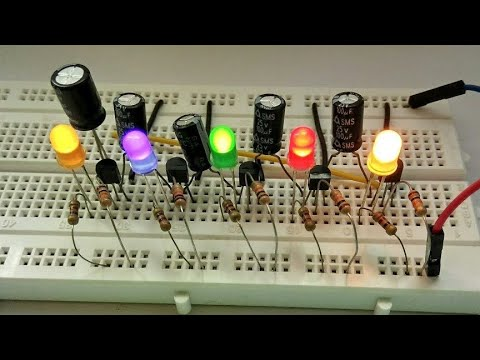 how to make simple 5 Led chaser circuit using transistor